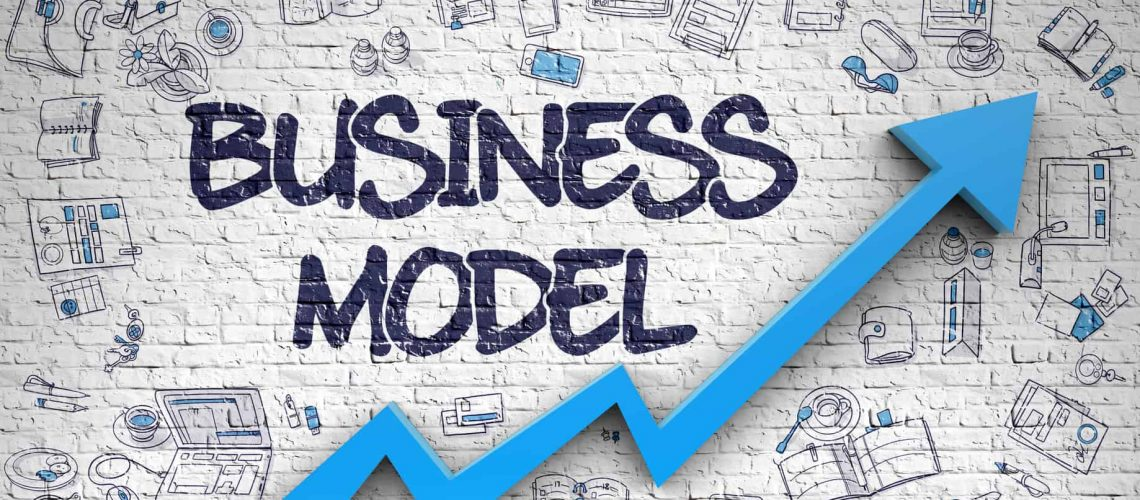 Business Model Inscription on Modern Style Illustation. with Blue Arrow and Doodle Design Icons Around. Business Model - Improvement Concept. Inscription on the Brick Wall with Doodle Icons Around. 3d.